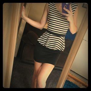 NWT bebe Black & White Peplum Dress